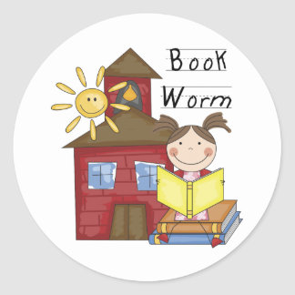 Girl Book Worm T-shirts and Gifts Round Sticker