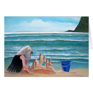 Girl building sand castle at the beach note cards