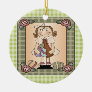Girl Bunny and Easter Eggs Double-Sided Ceramic Round Christmas Ornament
