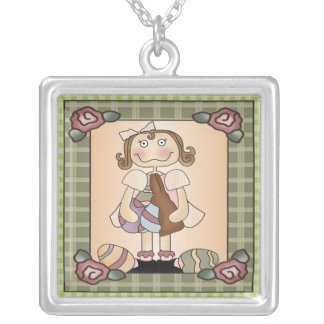 Girl Bunny and Easter Eggs Square Pendant Necklace