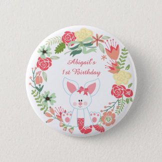 Girl Bunny and Wreath 1st Birthday Button