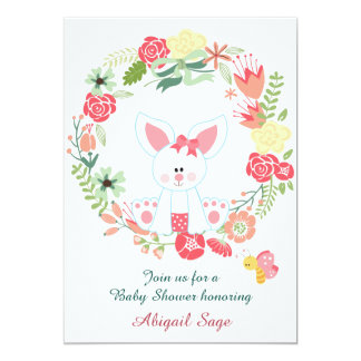 Girl Bunny and Wreath Baby Shower Invitation