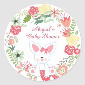Girl Bunny and Wreath Baby Shower Stickers