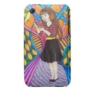 Girl, Butterfly, And Birds In A Garden Case-Mate iPhone 3 Case