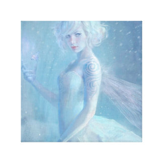 Girl Butterfly Painting When Blonde Snow Winter Canvas Print