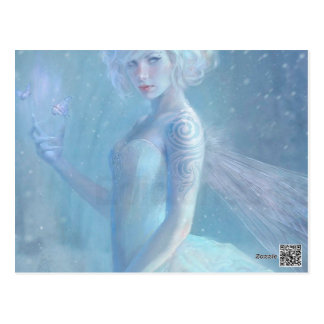 Girl Butterfly Painting When Blonde Snow Winter Postcard