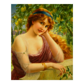 Girl By Citrus Tree Poster