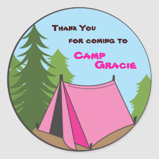 Girl Camping Birthday Party Favor Sticker
