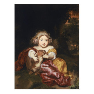 Girl Caressing a Fawn Postcard