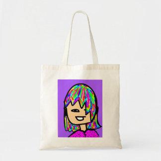 girl cartoon face tote