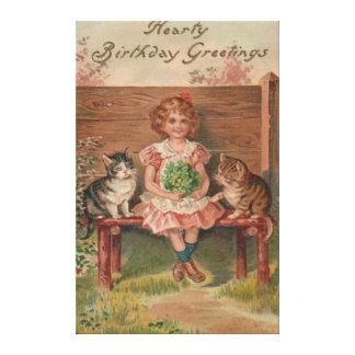 Girl Cat Kitten Flowers Birthday Gallery Wrap Canvas