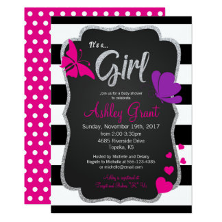 Girl Chalkboard Butterfly Baby Shower Invitation