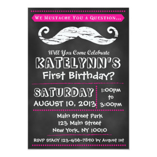 Girl Chalkboard Moustache Birthday Invitation