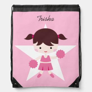 Girl Cheerleader Pink Uniform Drawstring Bag