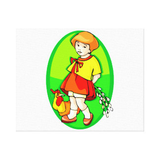 girl chicken flowers behind back green oval.png gallery wrap canvas