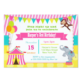 Girl Circus Carnival Birthday Party Invitations