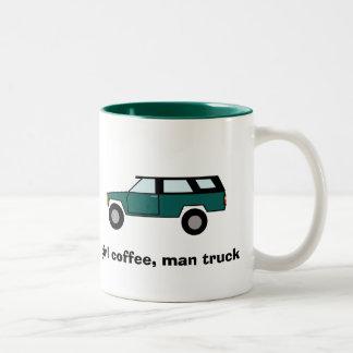 girl coffee, man truck Two-Tone coffee mug