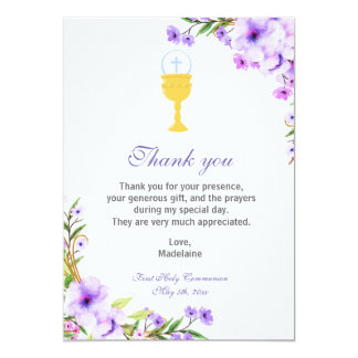 Girl Communion Thank You Card Floral Lavender