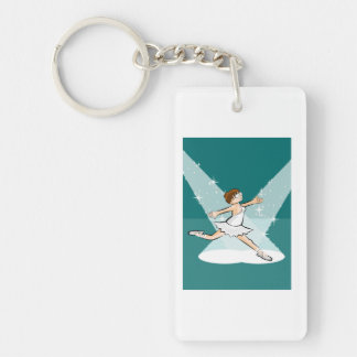 Girl dances ballet under the lights of the theater key ring