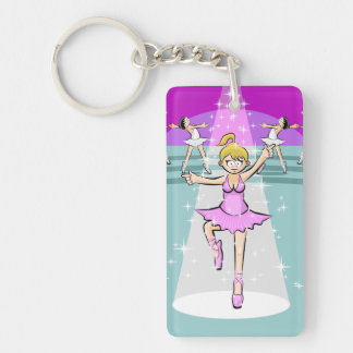 Girl dances ballet with her companions of dance key ring