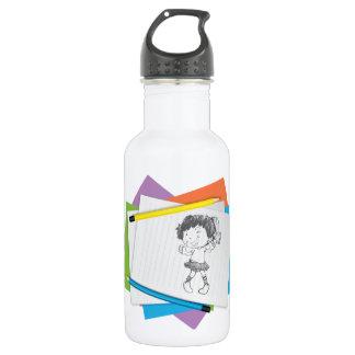 Girl Dancing Illustration Water Bottle