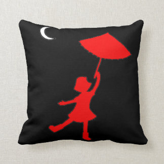 Girl dancing with her umbrella cushion