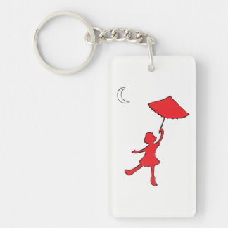 Girl dancing with her umbrella key ring