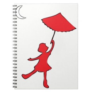 Girl dancing with her umbrella notebook