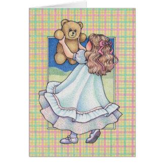 girl dancing with teddy bear greeting card