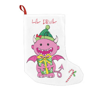 Girl Devil with present Small Christmas Stocking