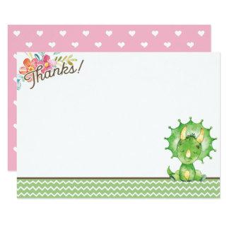 Girl Dinosaur Baby Shower Thank You Card