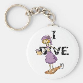 Girl Diver Basic Round Button Key Ring