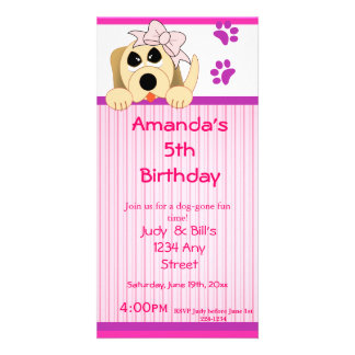 Girl Dog with Bow & Dog House Birthday Custom Photo Card