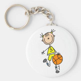 Girl Dribbling Basketball Tshirts and Gifts Key Chain