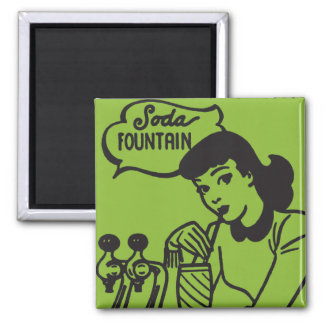 Girl Drinking at Soda Fountain Magnet