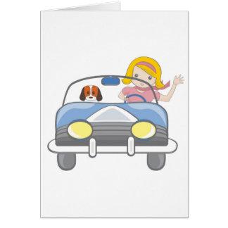 Girl driving a car card