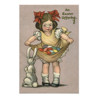 Girl Easter Bunny Colored Painted Egg Photo Print