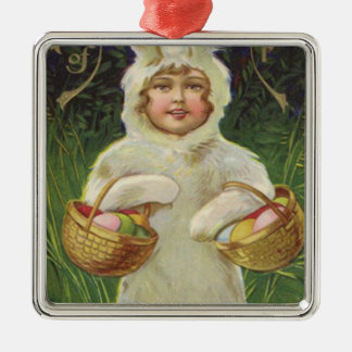 Girl Easter Bunny Costume Basket Colored Egg Silver-Colored Square Decoration