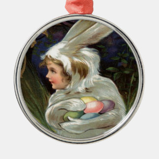 Girl Easter Bunny Costume Colored Painted Egg Ornament