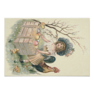 Girl Easter Chick Rooster Colored Egg Poster