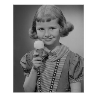 Girl Eating Ice Cream Poster
