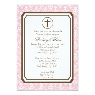 Girl Elegant Christening Invitation - Pink