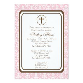Girl Elegant Christening Invitation - Pink