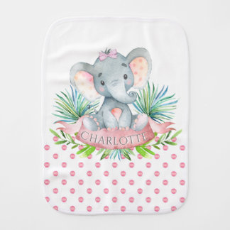 Girl Elephant Baby Burp Cloths