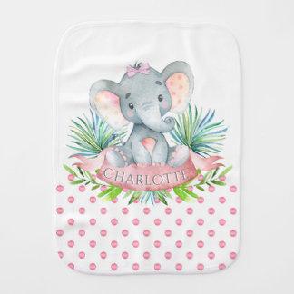 Girl Elephant Baby Burp Cloths