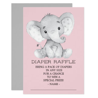 Girl Elephant Baby Shower Diaper Raffle Ticket Card