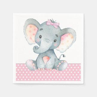 Girl Elephant Baby Shower Paper Napkins Disposable Napkin