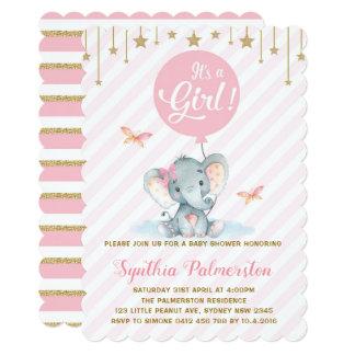 Girl Elephant Baby Shower Pink Gold Star Invite