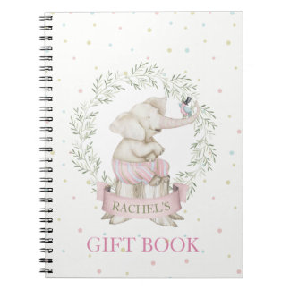 Girl Elephant Baby Shower Pink Green Beige Notebook