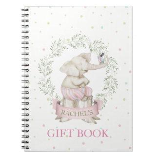 Girl Elephant Baby Shower Pink Green Beige Notebooks